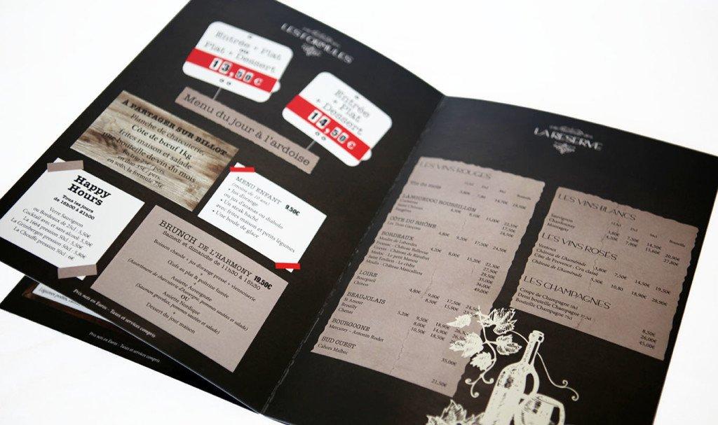 Création carte menu restaurant graphiste